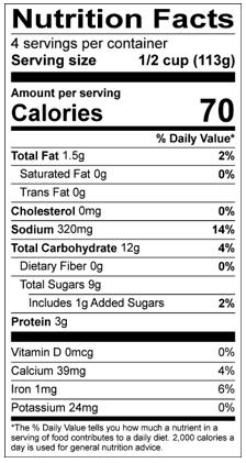 nutrient label